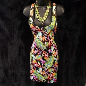 Tropical Print Fitted Dress